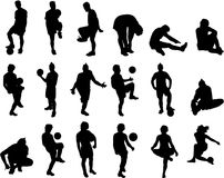 Soccer Vector Silhouettes Stock Images