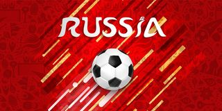 Soccer game web banner for a russian event. Soccer web banner for special football match. Russia text quote and ball illustration with festive color background Stock Image