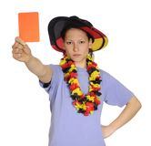 Soccer woman shows red card Stock Photos