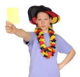 Soccer woman shows yellow card Stock Photography