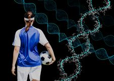 soccer woman with technological dna chains. Black background Stock Photography