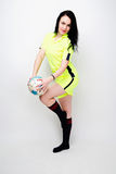 Soccer Woman  on white background Stock Images