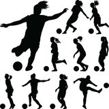 Soccer women silhouette. girl player stock photos