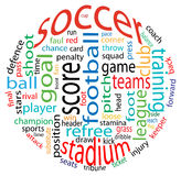 Soccer word cloud. Abstract soccer word cloud in a ball form Stock Photography