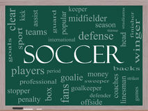 Soccer Word Cloud Concept on a Blackboard Stock Photos