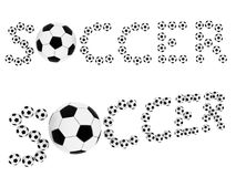 Soccer words composed of soccer balls Stock Images