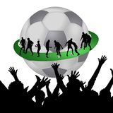 Soccer world. Abstract illustration of a giant soccer ball representing global popularity of the sport, soccer players around it, fans in the foreground Stock Images