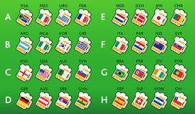 Soccer world championship 2010. Beer glasses with national flags at soccer world championship 2010, South Africa royalty free illustration