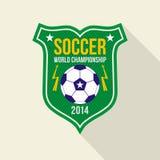 Soccer  world championship  emblem. Bright soccer world championship  emblem in flat style Stock Image