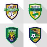 Soccer  world championship  emblem Superior team. Bright soccer world championship  emblem in flat style Royalty Free Stock Photo