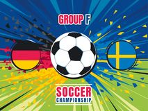 Soccer world championship match splash screen. Germany vs Sweden. Group F. Color vector illustration. Soccer world championship match splash screen. Germany vs Royalty Free Stock Photos