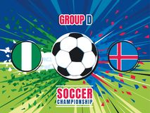 Soccer world championship match splash screen. Nigeria vs Iceland. Group D. Color vector illustration Stock Photo