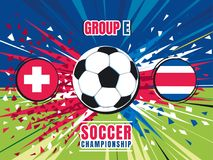 Soccer world championship match splash screen. Switzerland vs Costa Rica. Group E. Color vector illustration Stock Photography