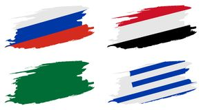 2018 soccer world championship. Set flags of group A - Russia, Egypt, Saudi Arabia, Uruguay Stock Image