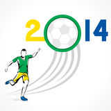 Soccer world concept. Player hit the ball or soccer world cup 2014 concept Stock Image