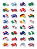 Soccer World Cup 2010. Participating countries - complete set of flags and soccer balls of all competing nations Royalty Free Stock Photography