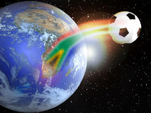 Soccer World Cup 2010. A soccer ball leaves the Earth since South Africa, as its trajectory creates the colors of the South African flag, like a rainbow Stock Photography