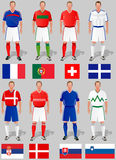 Soccer world cup, basket 4. Teams around the world, the first group of commands Stock Photos