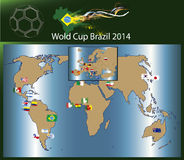 Soccer world cup Brazil 2014 countrys Royalty Free Stock Photo