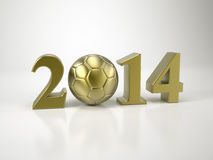Soccer World Cup 2014 Brazil. In Golden Numbers Royalty Free Illustration
