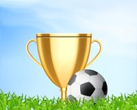 Soccer world cup concept. Golden cup with soccer ball on a grass. Soccer world cup concept. Vector icon. EPS10 Stock Photo