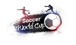 Soccer world cup concept with silhouette of football players on. Grungy background Stock Image