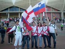 Soccer world cup fans stock photography