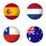 Soccer world cup 2014 group B flags on soccerballs Stock Images