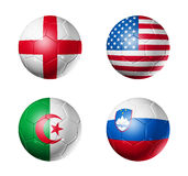Soccer world cup group C flags on soccer balls Royalty Free Stock Photo