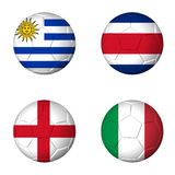 Soccer world cup 2014 group D flags on soccerballs Royalty Free Stock Image