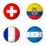 Soccer world cup 2014 group E flags on soccerballs Royalty Free Stock Images