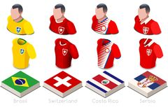 World Cup Group E Jersey Set. Soccer world cup a group e of players with team shirts flags and ball. referee football vector illustration Stock Photo