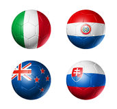Soccer world cup group F flags on soccer balls. 3D soccer balls with group F teams flags, world football cup 2010. isolated on white Royalty Free Stock Photos
