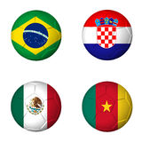 Soccer world cup 2014 group A flags on soccerballs. Soccer world cup 2014 group A flags on soccer balls. 3D rendered Stock Photography