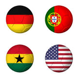 Soccer world cup 2014 group G flags on soccerballs. Soccer world cup 2014 group G flags on soccer balls. 3D rendered Stock Photography