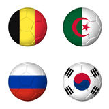 Soccer world cup 2014 group H flags on soccerballs Stock Image