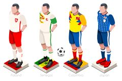 World Cup Football Group Vector. Soccer world cup a group of players with team shirts flags and ball. Isometric football vector illustration Stock Images