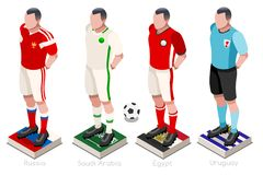 World Cup Soccer Shirts Vector. Soccer world cup a group of players with team shirts flags and ball. Isometric football vector illustration Royalty Free Stock Photo