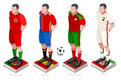 World Cup Soccer Team Vector. Soccer world cup a group of players with team shirts flags and ball. Isometric football vector illustration Stock Photography