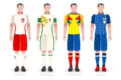 World Cup Group H Jerseys Kit. Soccer world cup a group of players with team shirts flags and ball. referee football vector illustration Stock Photo