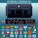 Soccer World Cup Scoreboard. Vector Kit. World Cup Football, Soccer Scoreboard. 2014 Vector Kit Stock Images