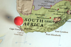 Soccer World Cup South Africa 2010. South Africa's map with pin. South Africa will be home of the 2010 Soccer World Cup Royalty Free Stock Photo