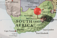 Soccer World Cup South Africa 2010. South Africa's map with pin. South Africa will be home of the 2010 Soccer World Cup Stock Images
