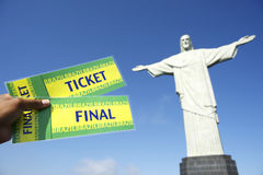 Soccer World Cup Tickets at Corcovado Rio de Janeiro Royalty Free Stock Images