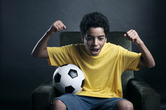 Soccer World Cup on Tv Royalty Free Stock Photos