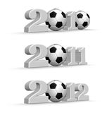 Soccer year. Year numbers with soccer balls - 3d illustration Royalty Free Stock Images