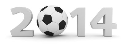 Soccer Year 2014. Big digits of new 2014 year with soccer ball Royalty Free Stock Image