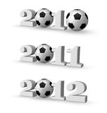 Soccer years. Year numbers with soccer balls - 3d illustration Stock Photography