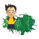 Soccer yellow blue cartoon Stock Photo
