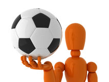 Soccer for you. Orange mannequin with soccer ball. Isolated Royalty Free Stock Images